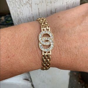 BMNY 14k Gold Plated Panther Link Bracelet with CZ